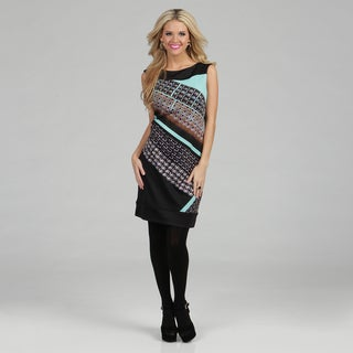 London Times Women's Aqua Geometric Printed Ponte Sheath Dress
