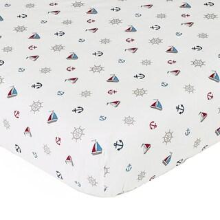 Sweet JoJo Designs Nautical Nights Mini Print Fitted Crib Sheet