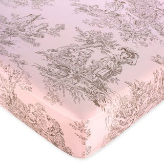 Sweet JoJo Designs Pink Brown Toile Fitted Crib Sheet