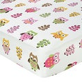 Sweet JoJo Designs Pink Happy Owl Print Fitted Crib Sheet