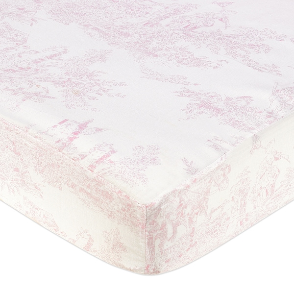 Sweet JoJo Designs Pink French Toile Fitted Crib Sheet