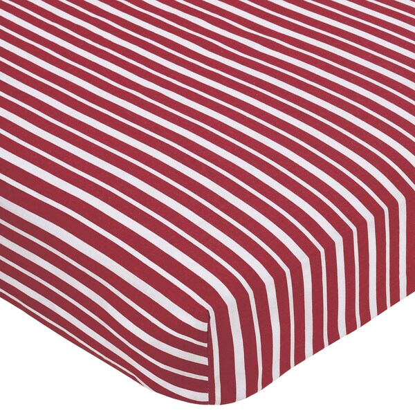 Sweet JoJo Designs Treasure Cove Red Stripe Print Fitted Crib Sheet