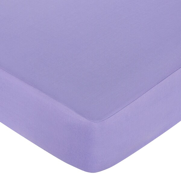 Sweet JoJo Designs Pretty Pony Solid Purple Fitted Crib Sheet