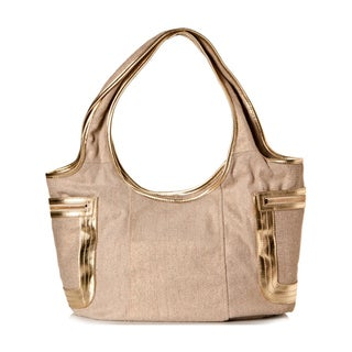 Vintage Reign Women's 'The O Tote' Beige and Gold Hobo Handbag