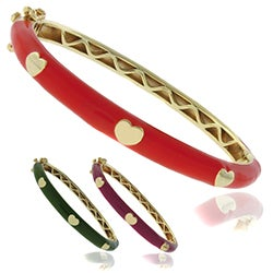 Molly and Emma 18k Gold Overlay Children's Enamel Heart Bangle with Box Clasp