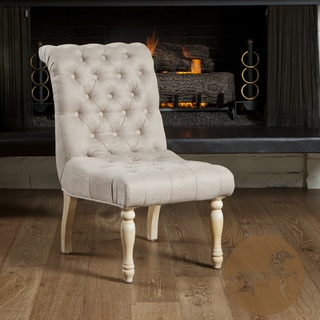 Christopher Knight Home Wadsworth Tufted Beige Velvet Dining Chair