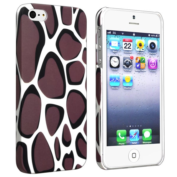 INSTEN Warm Grey Leopard Rear Rubber Coated Phone Case Cover for Apple iPhone 5/ 5S
