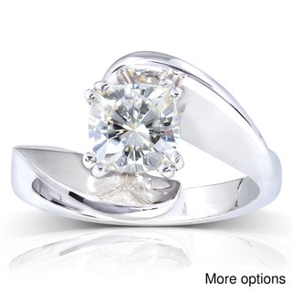 14k White Gold Cushion-cut Moissanite Solitaire Curved Ring