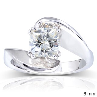 Annello 14k White Gold Cushion-cut Moissanite Solitaire Curved Ring
