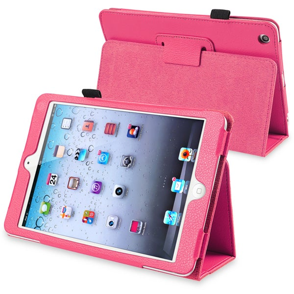 INSTEN Hot Pink Leather Tablet Case Cover with Stand for Apple iPad Mini 1/ 2 Retina Display