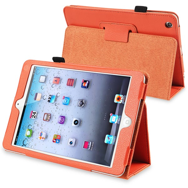 INSTEN Orange Leather Tablet Case Cover with Stand for Apple iPad Mini 1/ 2 Retina Display