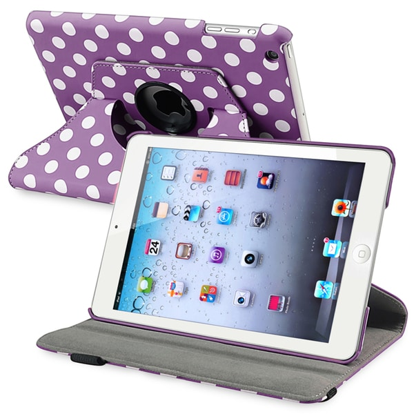 BasAcc Purple/ Dot 360-degree Swivel Leather Case for Apple® iPad Mini