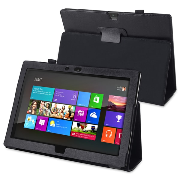 INSTEN Black Leather Phone Case Cover with Stand for Microsoft Surface RT