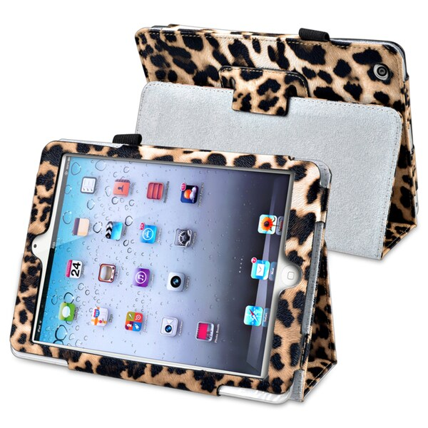 INSTEN Brown Leopard Leather Tablet Case Cover Stand for Apple iPad Mini 1/ 2 Retina Display