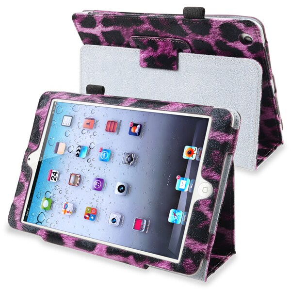 INSTEN Purple Leopard Leather Tablet Case Cover Stand for Apple iPad Mini 1/ 2 Retina Display