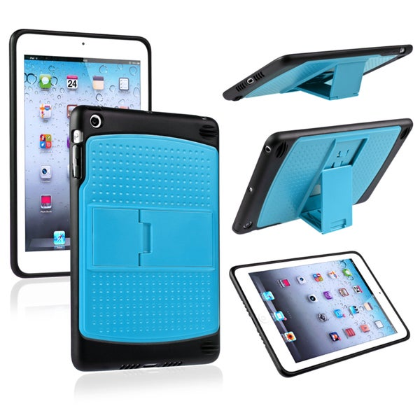 INSTEN Blue/ Black TPU Hybrid Case Cover with Stand for Apple iPad Mini