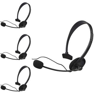 INSTEN Black Headset with Microphone for Microsoft xBox 360/ Slim (Pack of 4)