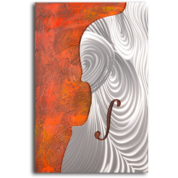 Handcrafted 'Metallic cello form' Metal on Hand Painted Canvas