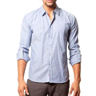 191 Unlimited Men's Slim Fit Blue Woven Long-Sleeve Shirt