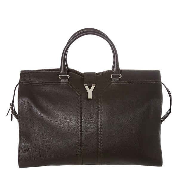 Yves Saint Laurent 'ChYc' Black Textured Leather Travel Bag