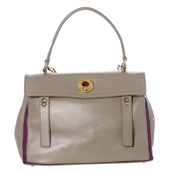 Yves Saint Laurent \u0026#39;Muse Two\u0026#39; Leather and Canvas Satchel Bag ...
