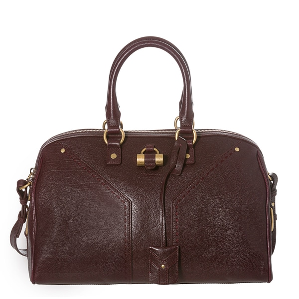 Yves Saint Laurent 'Muse' Eggplant Textured Leather Bowler Bag