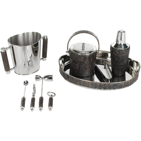 Safavieh Stainless Steel/ Bark 9-piece Bar Set