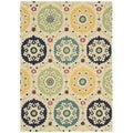 Hand-tufted Suzani Multi-color Medallion Rug (2'6 x 4')