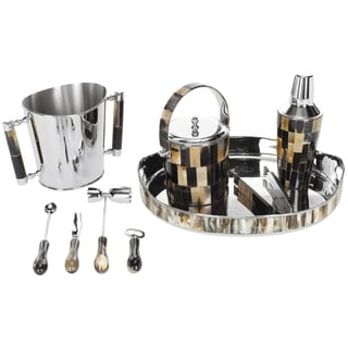 Safavieh 9-piece Reclaimed Buffalo Horn Accented Bartender Set