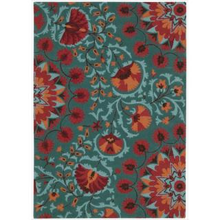 Nourison Hand-tufted Suzani Teal Wool Floral Bloom Rug (3'9 x 5'9)