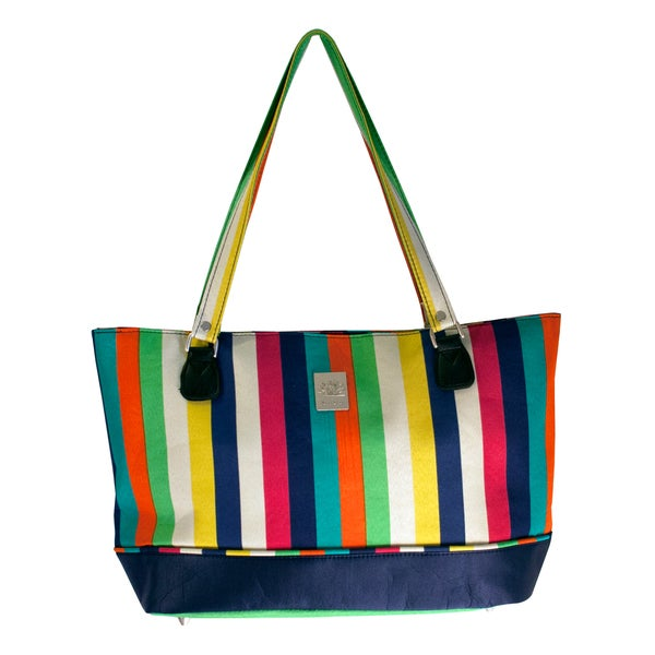Jenni Chan Women's Multicolor Stripes 17-inch Laptop Tote Bag