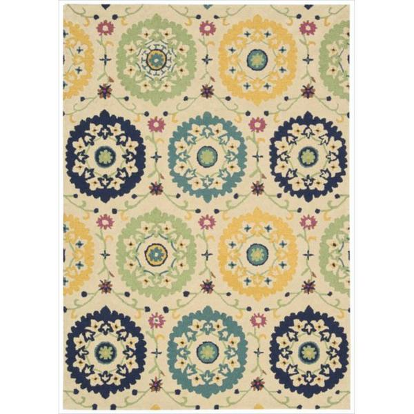 Hand-tufted Suzani Multi-color Medallion Rug (5'3 x 7'5)