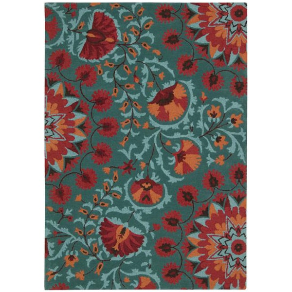 Teal Floral Area Rug: Hand-tufted Suzani Teal Floral Bloom Rug (5'3 X 7'5