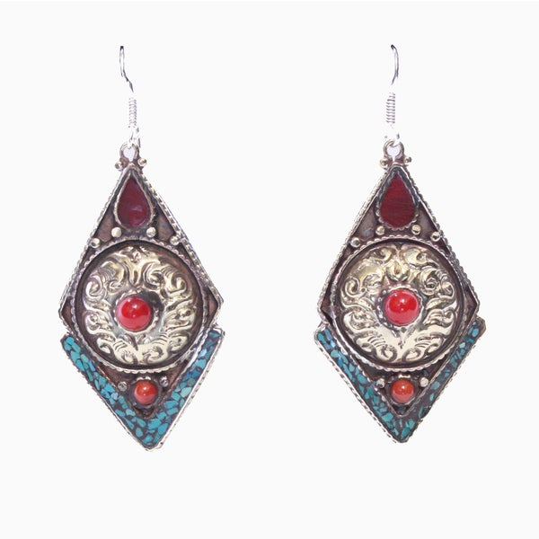 3 Coral Diamond-Shape Earrings (Nepal)