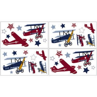 Sweet JoJo Designs Vintage Aviator Wall Decal Sheets (Set of 4)