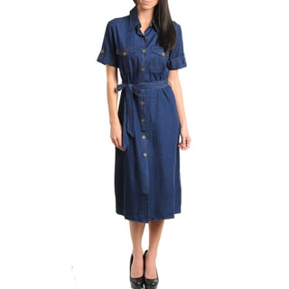 Stanzino Women's Button-down Knee-length Denim Dress