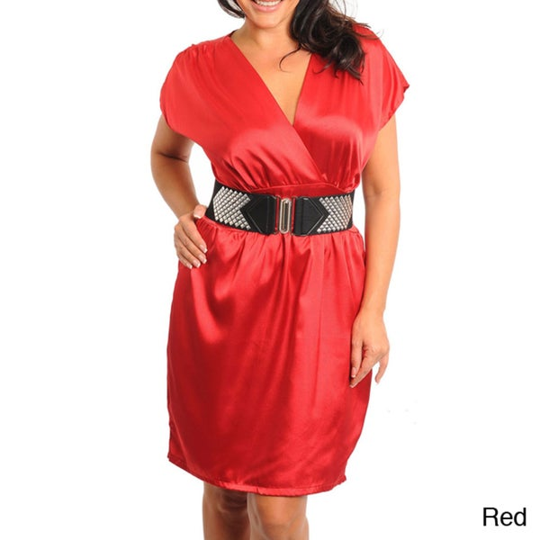Stanzino Women's Plus Size Belted V-neck Dress
