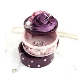 Jacki Design Blossom Bliss Purple Satin Flower 2-tier Jewelry Box