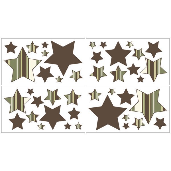 Sweet JoJo Designs Green and Brown Ethan Wall Decal Stickers (Set of 4)