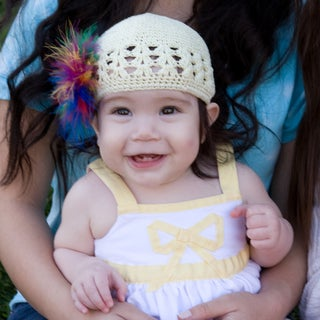 Bobitty Boo Sabrina Crochet Kufi Hat with Rainbow Feathers