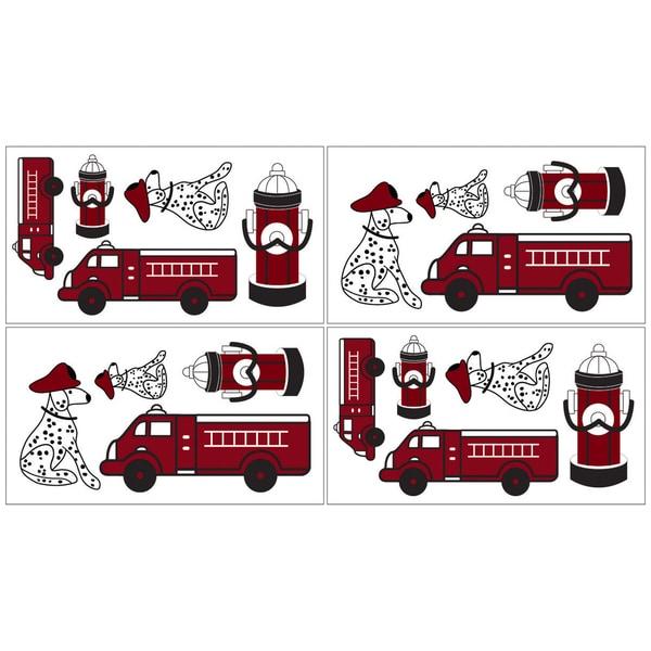Sweet JoJo Designs Frankie's Firetruck Wall Decal Stickers (Set of 4)