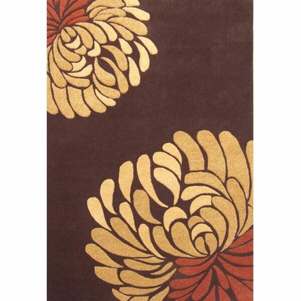 nuLOOM Handmade Blossom Brown Wool Rug