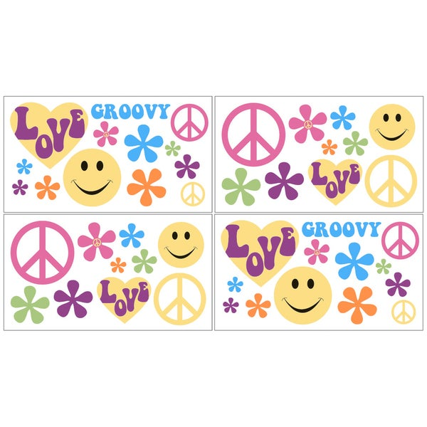 Sweet JoJo Designs Groovy Peace Sign Wall Decal Stickers (Set of 4)