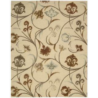 Hand-tufted 'In Bloom' Beige Wool Rug (7'6 x 9'6)