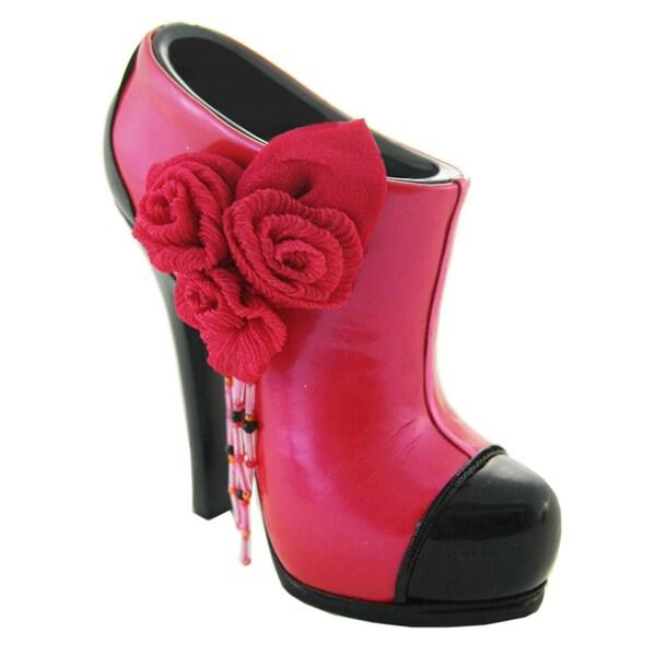 Jacki Design Glossy Red Rose Bootie Brush/ Cellphone Holder