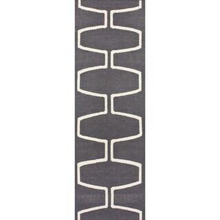 nuLOOM Handmade Flatweave Moroccan Trellis Grey Wool Runner
