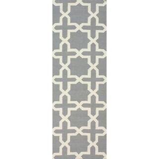 nuLOOM Handmade Flatweave Marrakesh Trellis Grey Wool Runner