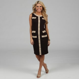 Amelia Women's Espresso Color Combo Knee-length Dress