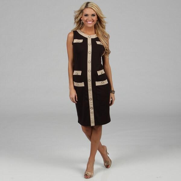 Amelia Women's Espresso Color Combo Knee-length Dress
