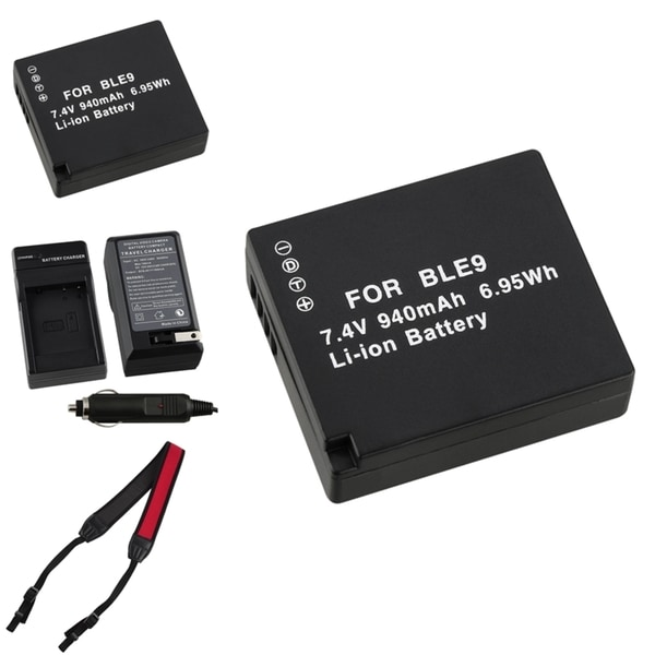 BasAcc Battery Charger/ Li-ion Battery/ Strap for Panasonic DMW-BLE9